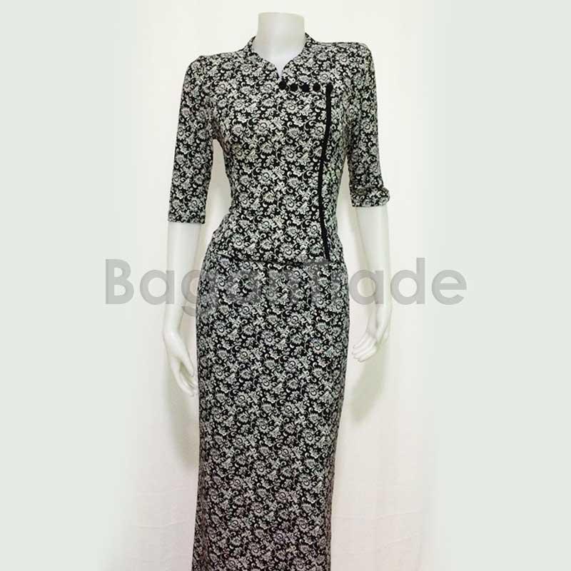 Middle Sleeve of Myanmar Dress Black Color Design | Vootee