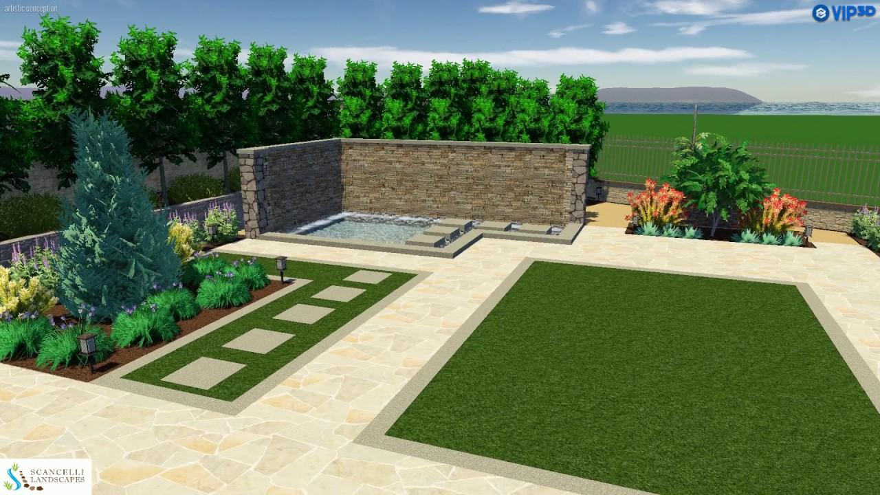 Modern villa 3d landscape design realtime landscape - 3d garten designer ...