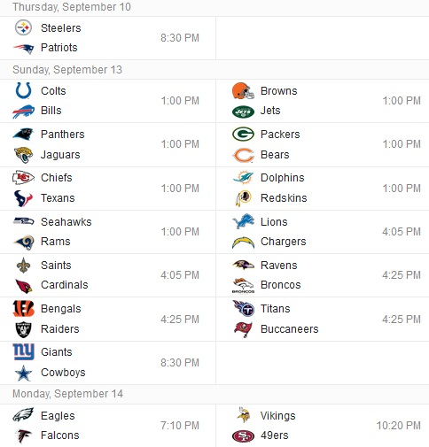 nfl season 2018 first regular season nfl game