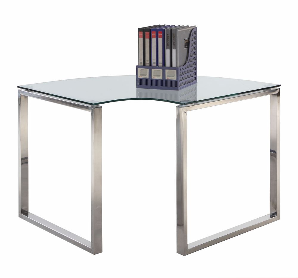 Corner computer desk w glass top home office furniture for Best home office computer 2015