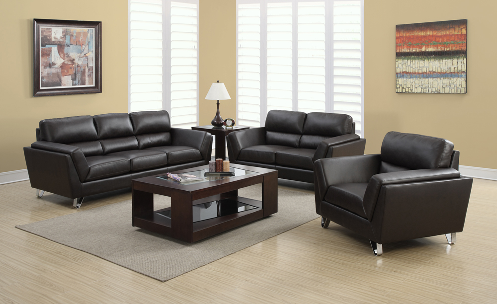 Monarch specialties dark brown bonded leather 3 piece for Front room furniture sets