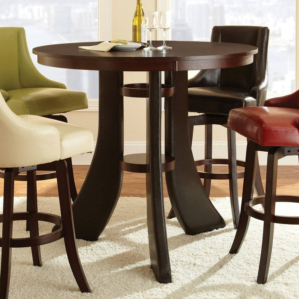 steve silver brooks contemporary 48 inch round bar table in espresso