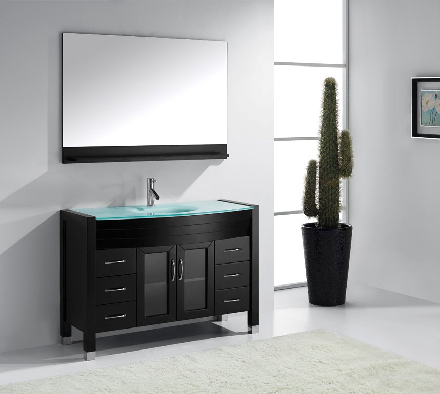 Ava 48 inch single sink bathroom vanity by virtu usa for Bathroom 48 inch vanity