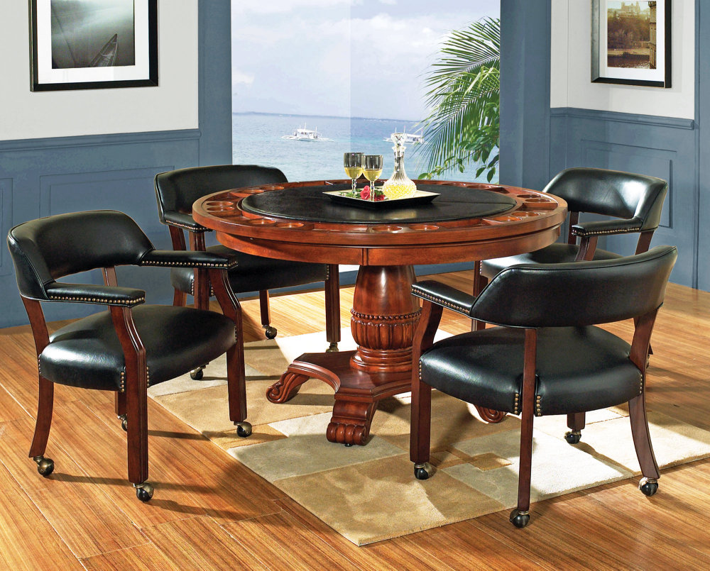 Round game table set poker table efurniture mart for Dining room game table