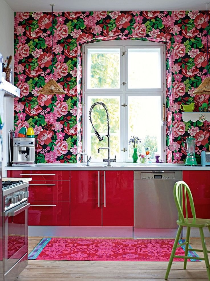 Go halfsies in your kitchen with bi colored cabinets for Bright red kitchen cabinets