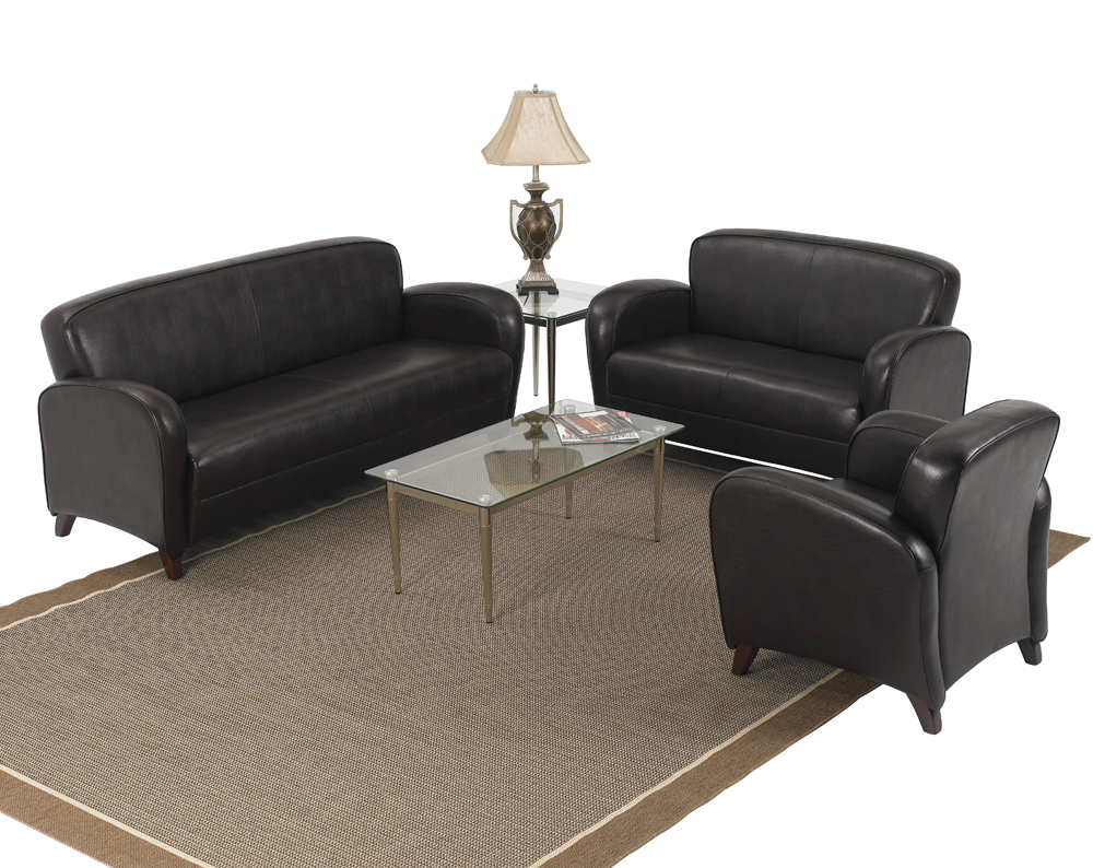 Office star products mocha eco leather 3 piece living room for 3 piece living room furniture