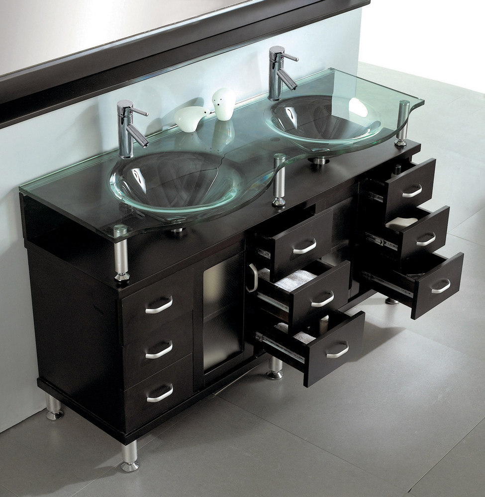 Double sink bathroom vanity in espresso by virtu usa for Cheap toilet and sink set