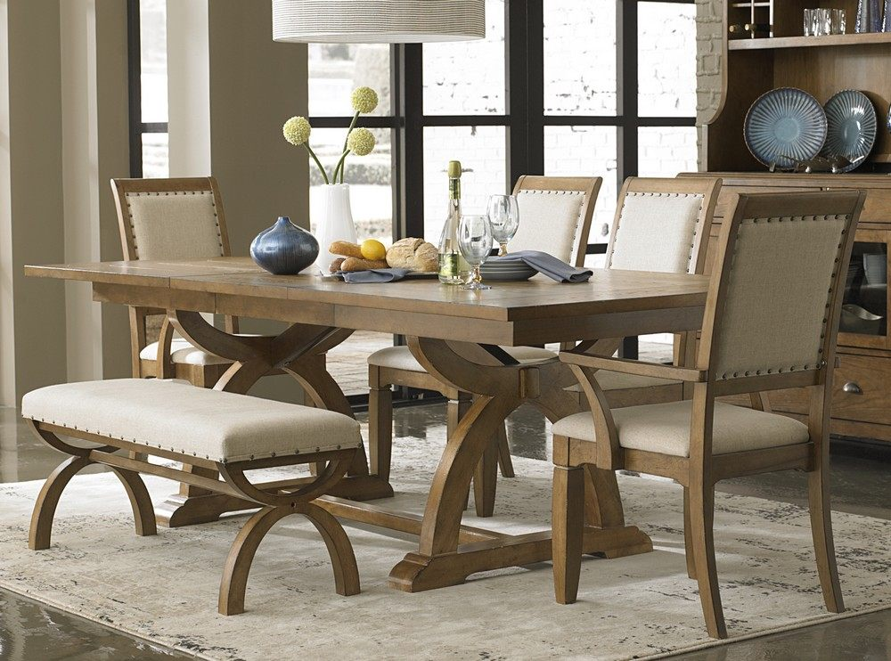 Liberty furniture 6 piece 96 42 dining room set light for Light wood dining room sets