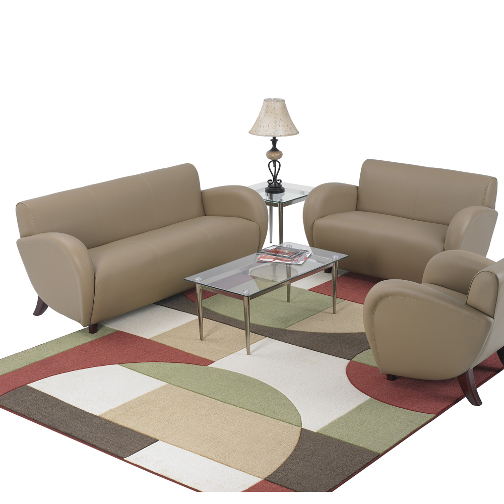 Office Star Products Eleganza Taupe Eco Leather 2 Piece Living Room Set W Cherry Legs