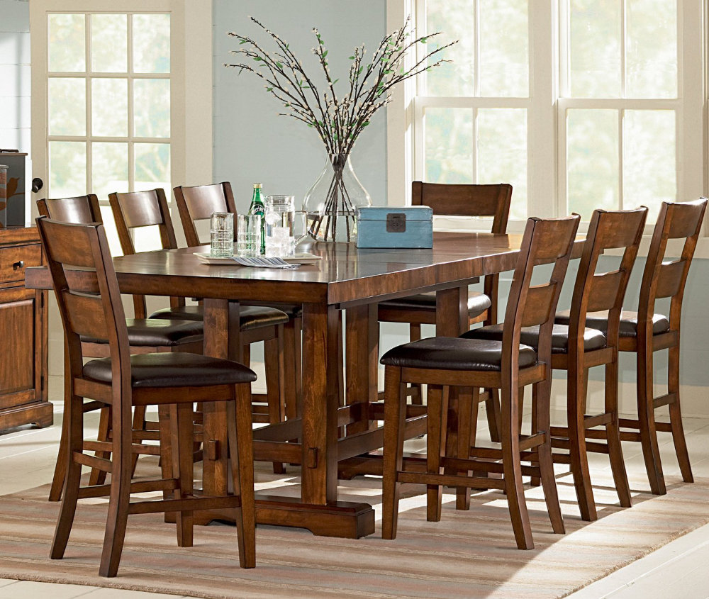 Counter height dining room sets glass or marble top table for Dining room table and 8 chairs