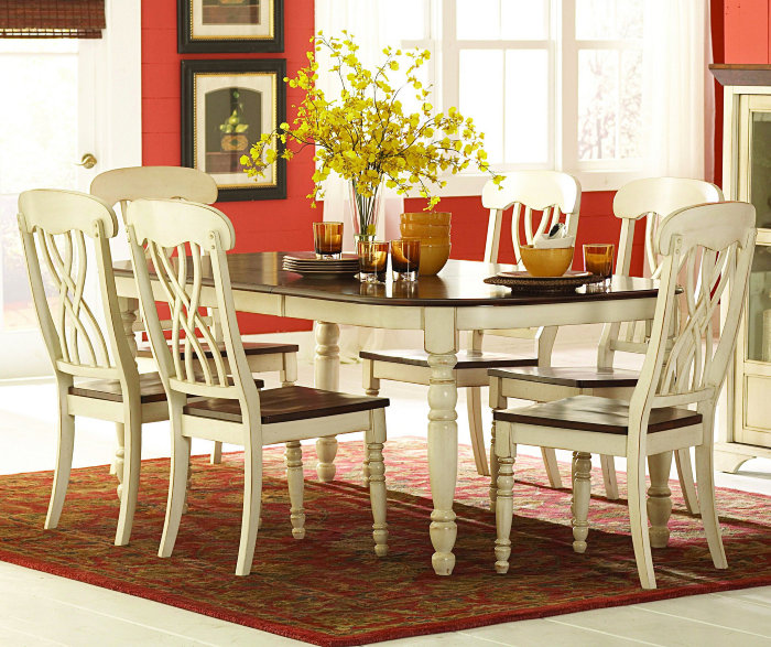 Homelegance ohana 7 piece dining room set in white home for Decor 7 piece lunch set