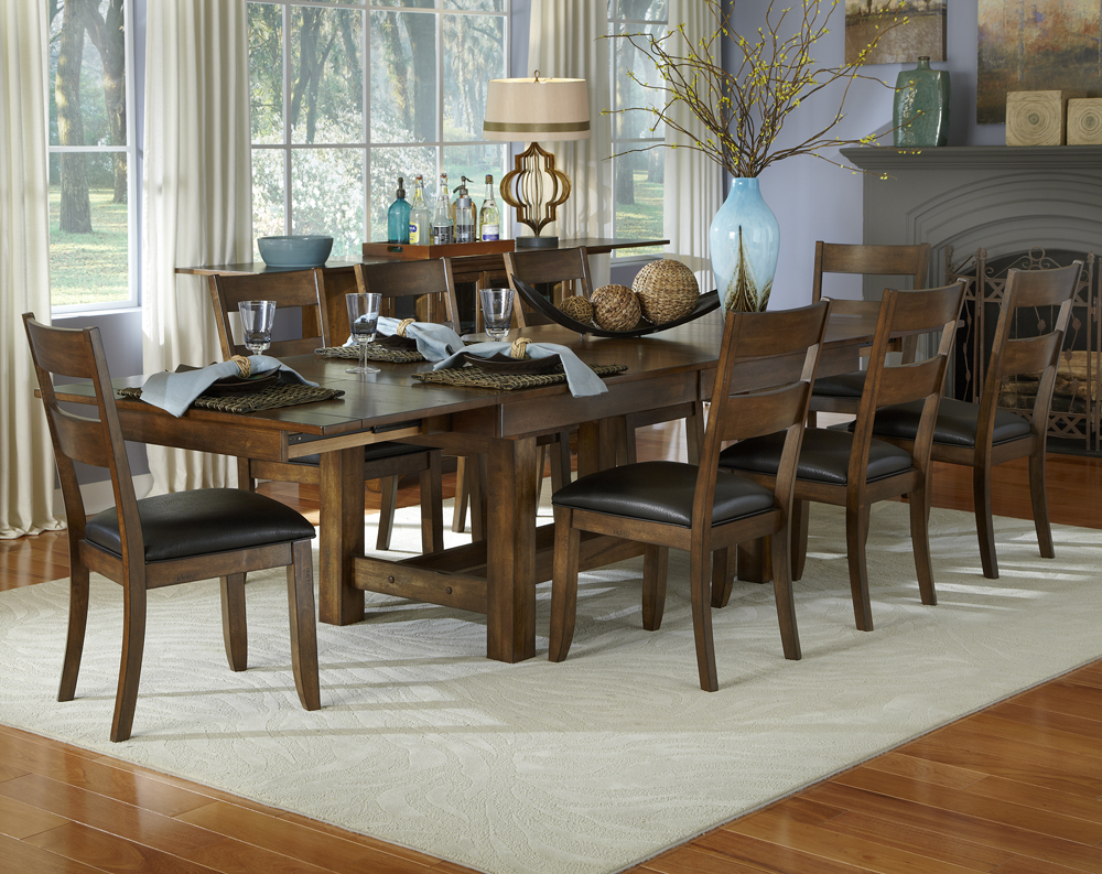 Dining Room Set W Ladderback Chairs In Rustic Whiskey Efurnituremart