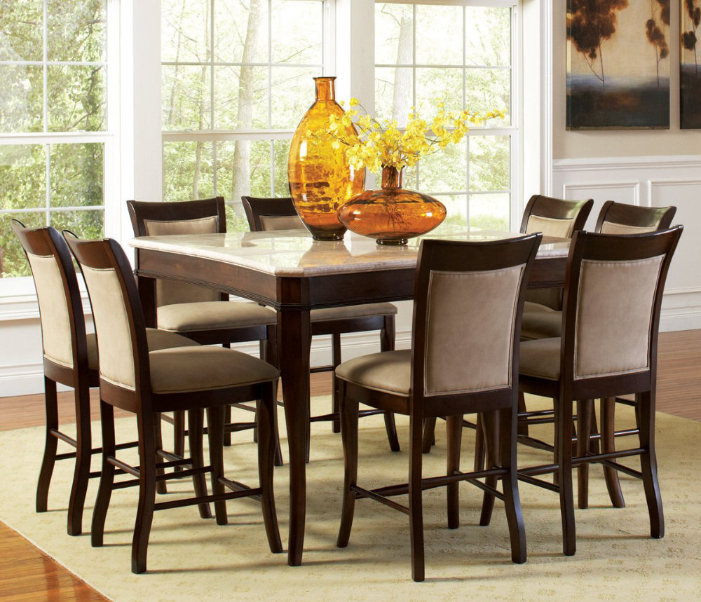 Dining room sets with glass or marble top table counter for Best dining sets