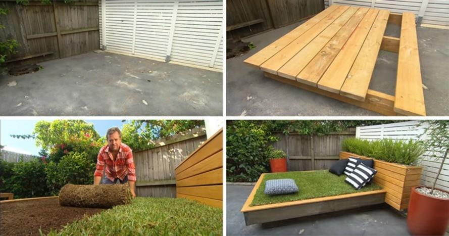 Diy Garden Guru Makes Outdoor Grass Daybed Out Of Wood